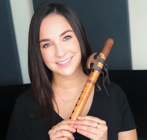 Gina Luciani professional musician flutist plays Native Flute with High Spirits Flutes and Odell Borg