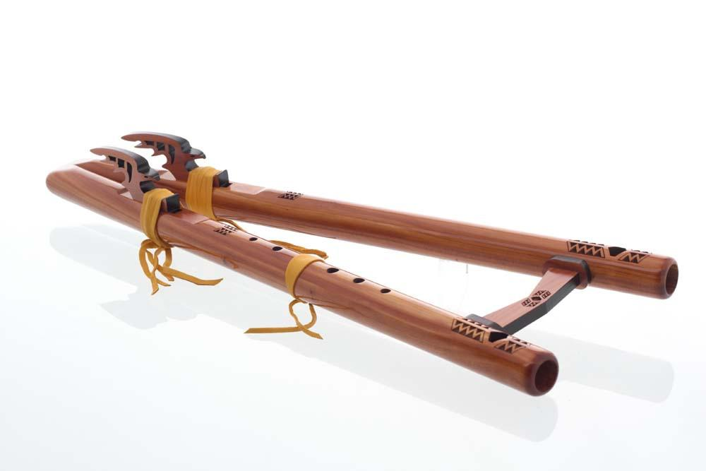 "121-C Twin Tail ""G"" - Aromatic Cedar flute - angle view"