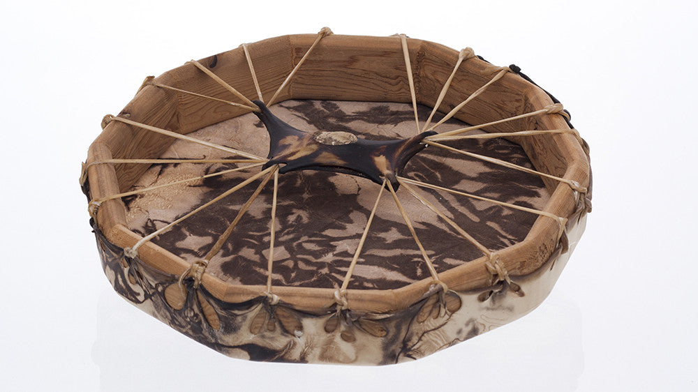 Stained Deer Hide Hand Drum - 13 inches (33 cm) diameter