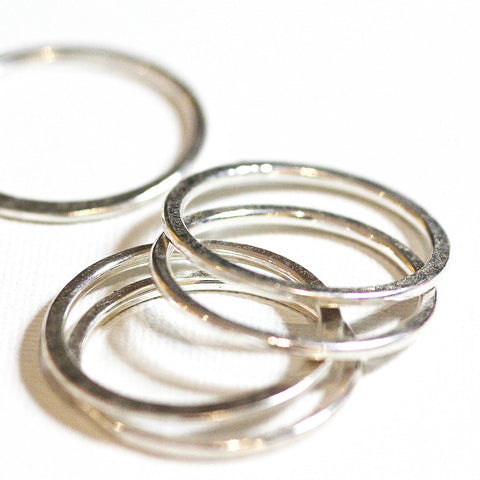 5 textured silver stacking rings