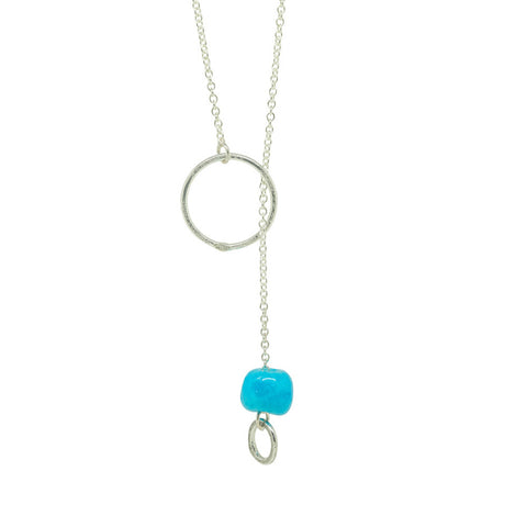 Silver Chain Necklace|Turquoise Ceramic Bead|Handmade Designer Jewellery