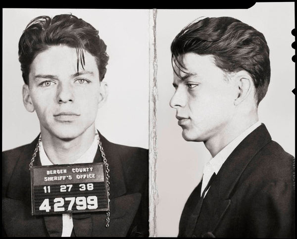 Frank Sinatra-Mug Shot--Front and Side-- 1938