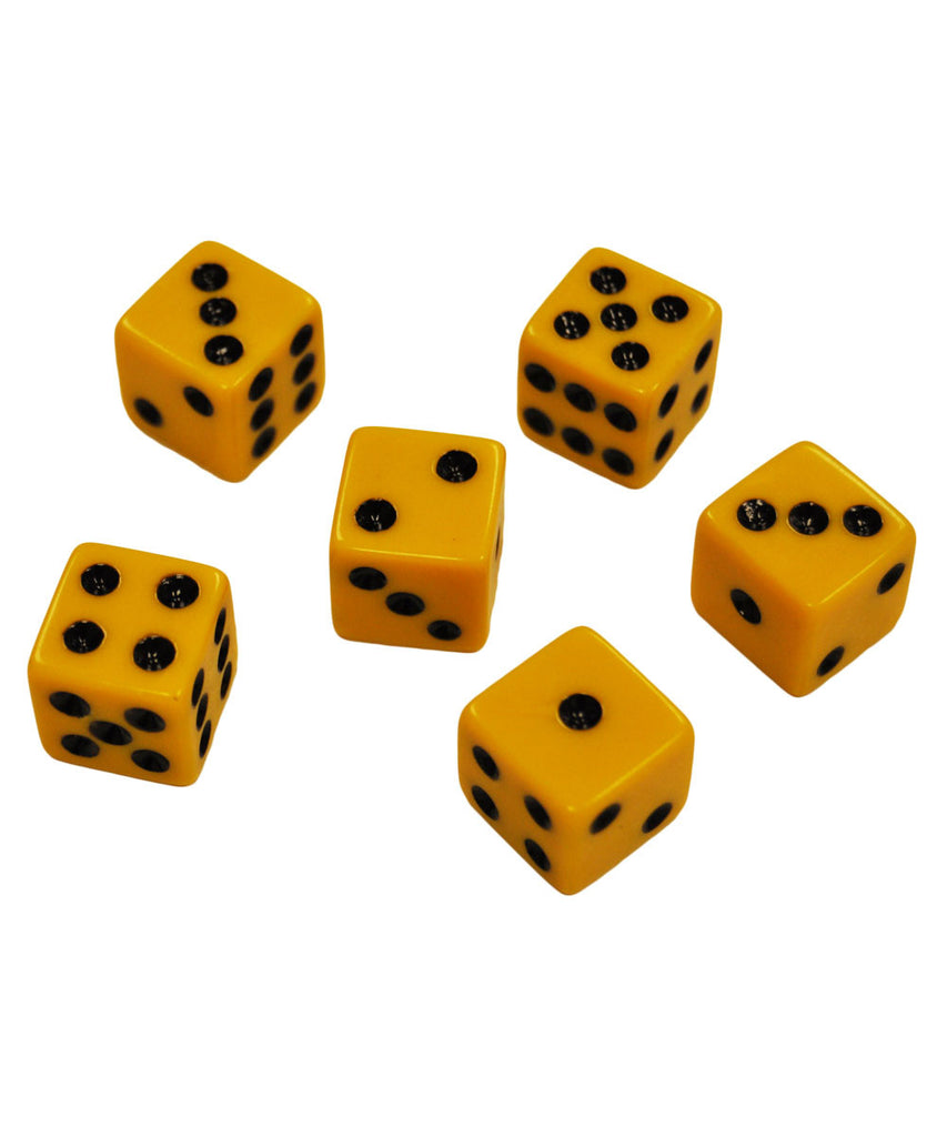 Set of 6 Mustard Yellow Dice