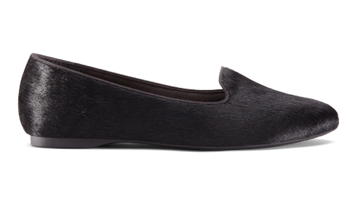 Women's flat Blackbird black calf hair