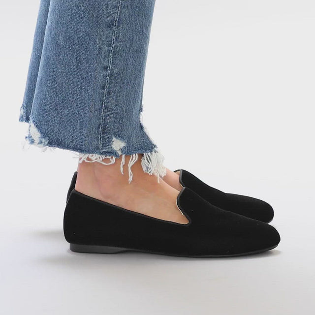 Women's flat Starling black velvet