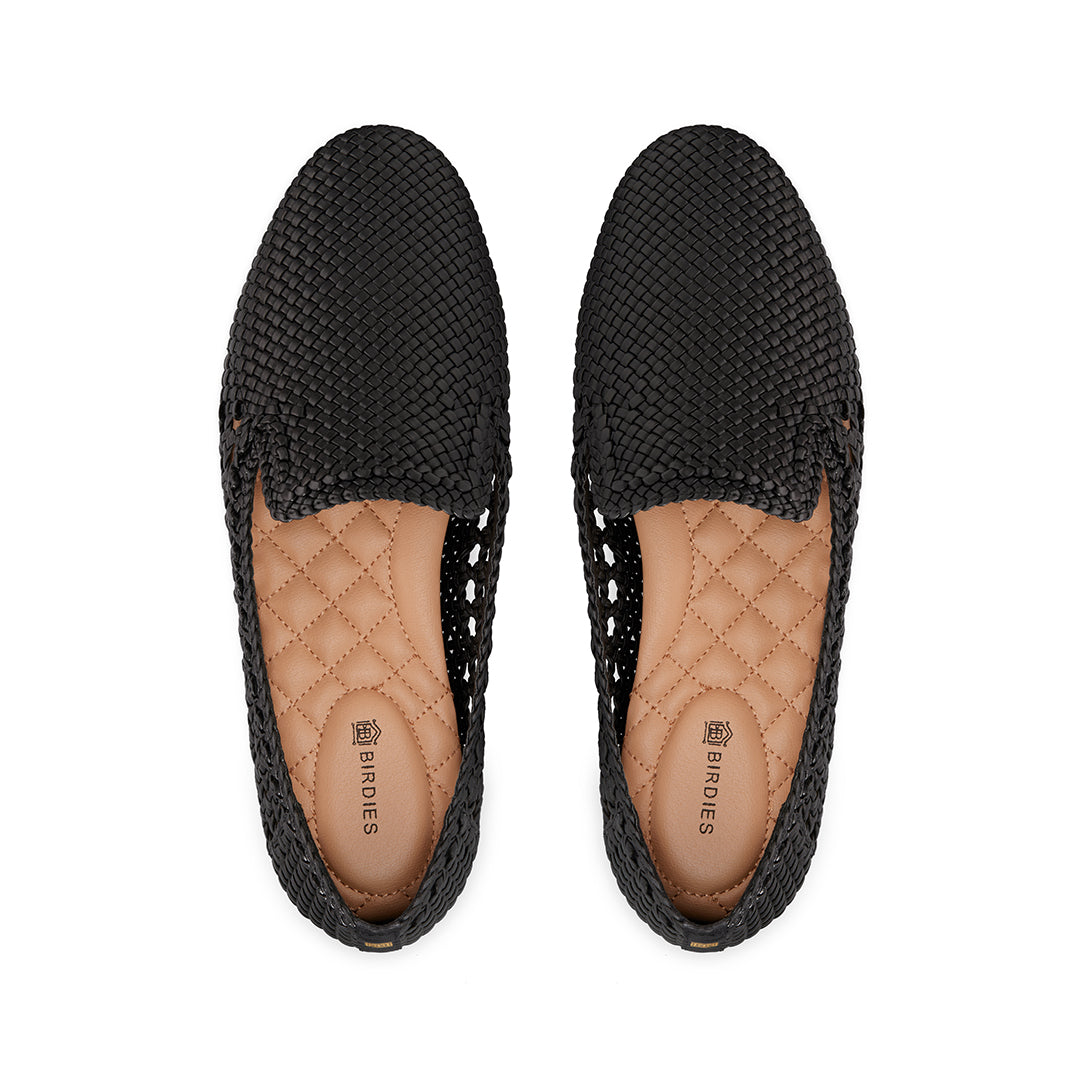 Women's flat Starling black woven vegan leather