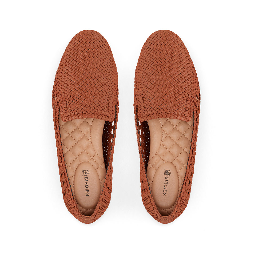 Women's flat Starling brown woven vegan leather
