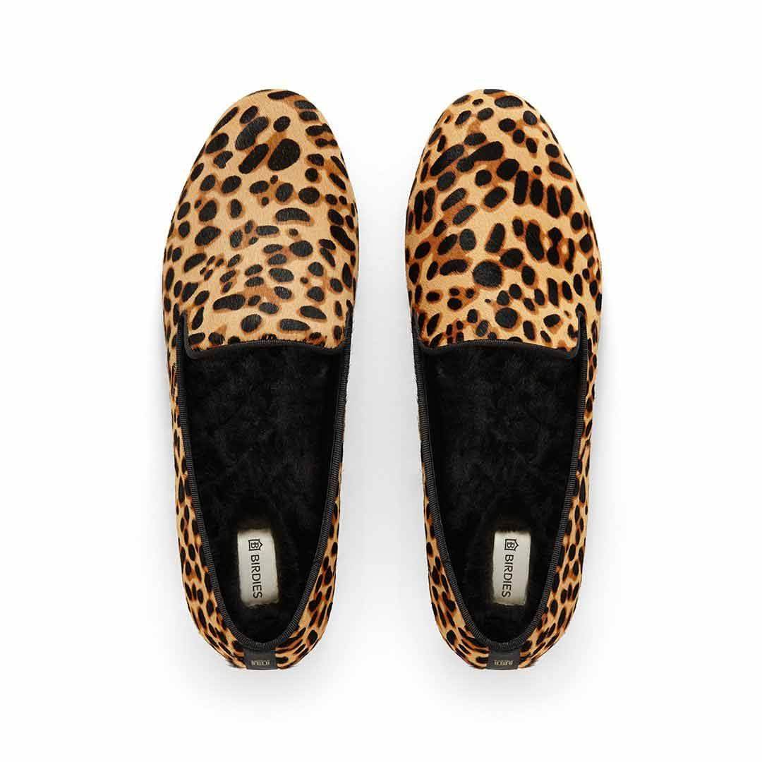 Women's flat Starling cheetah calf hair faux fur