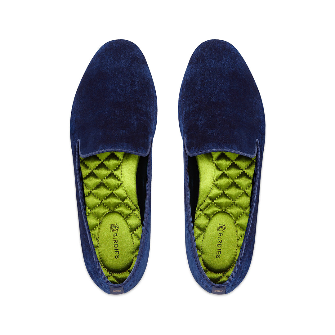 Women's flat Starling blue velvet