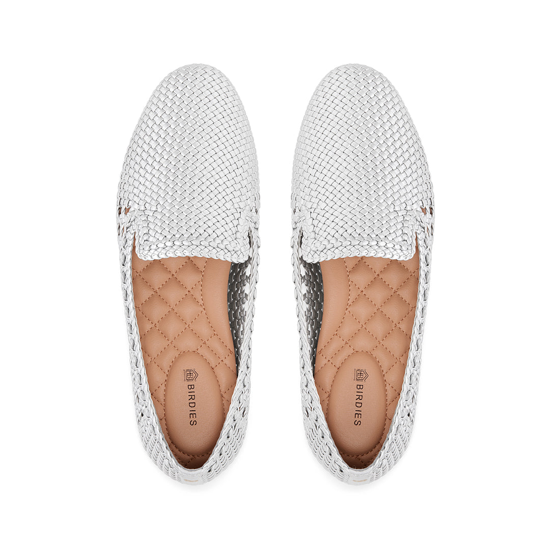 Women's flat Starling silver woven vegan leather
