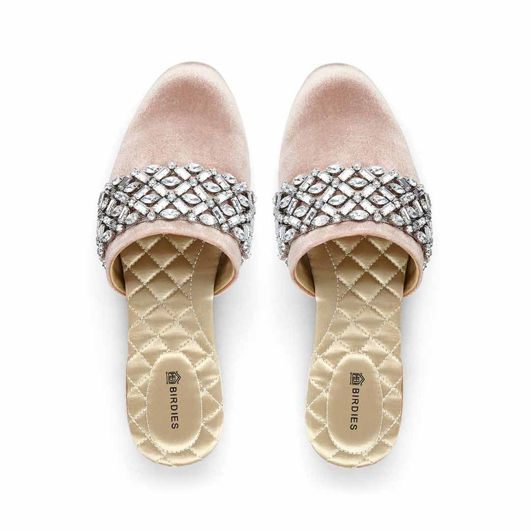 Women's slides Songbird blush crystal