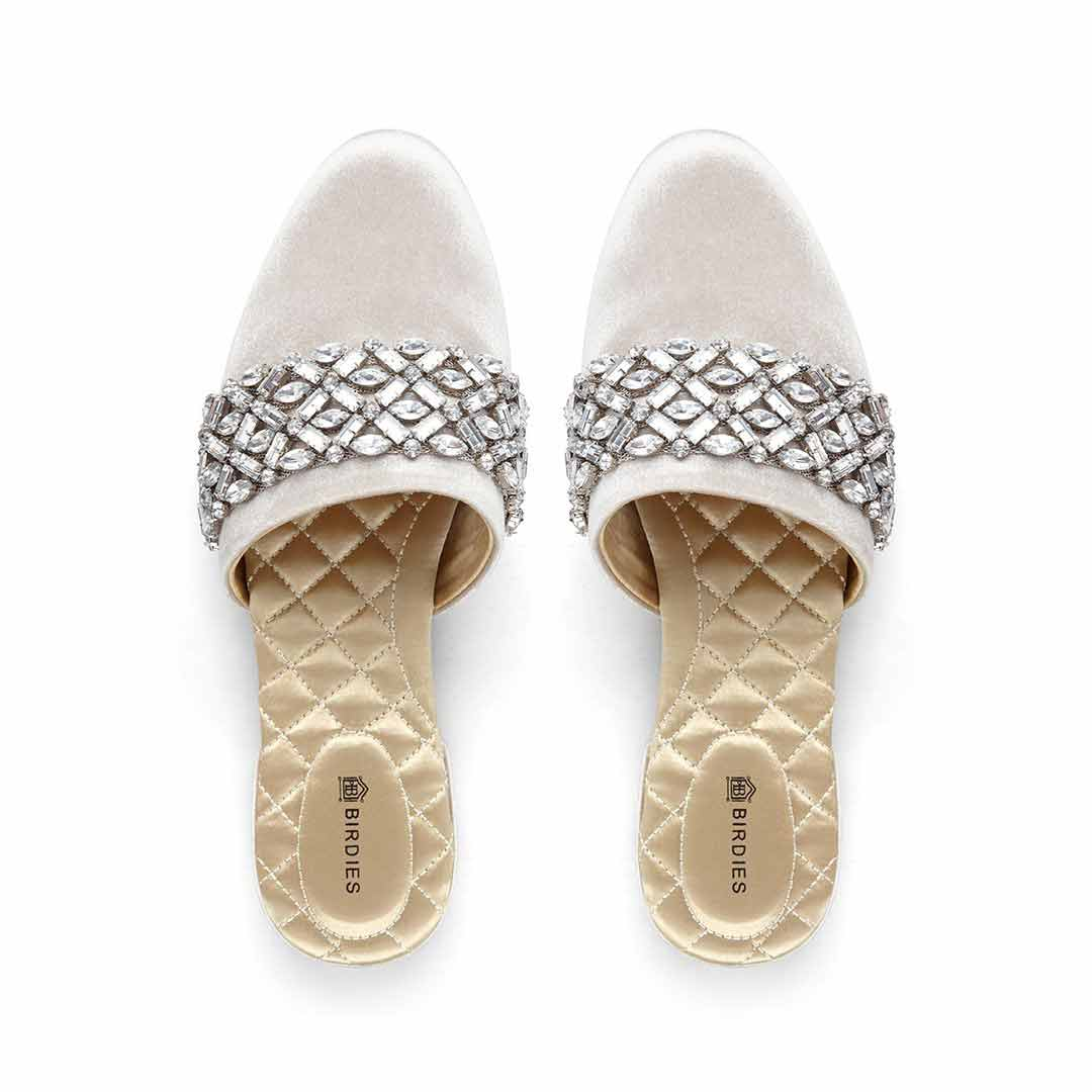 Women's slides Songbird silver crystal
