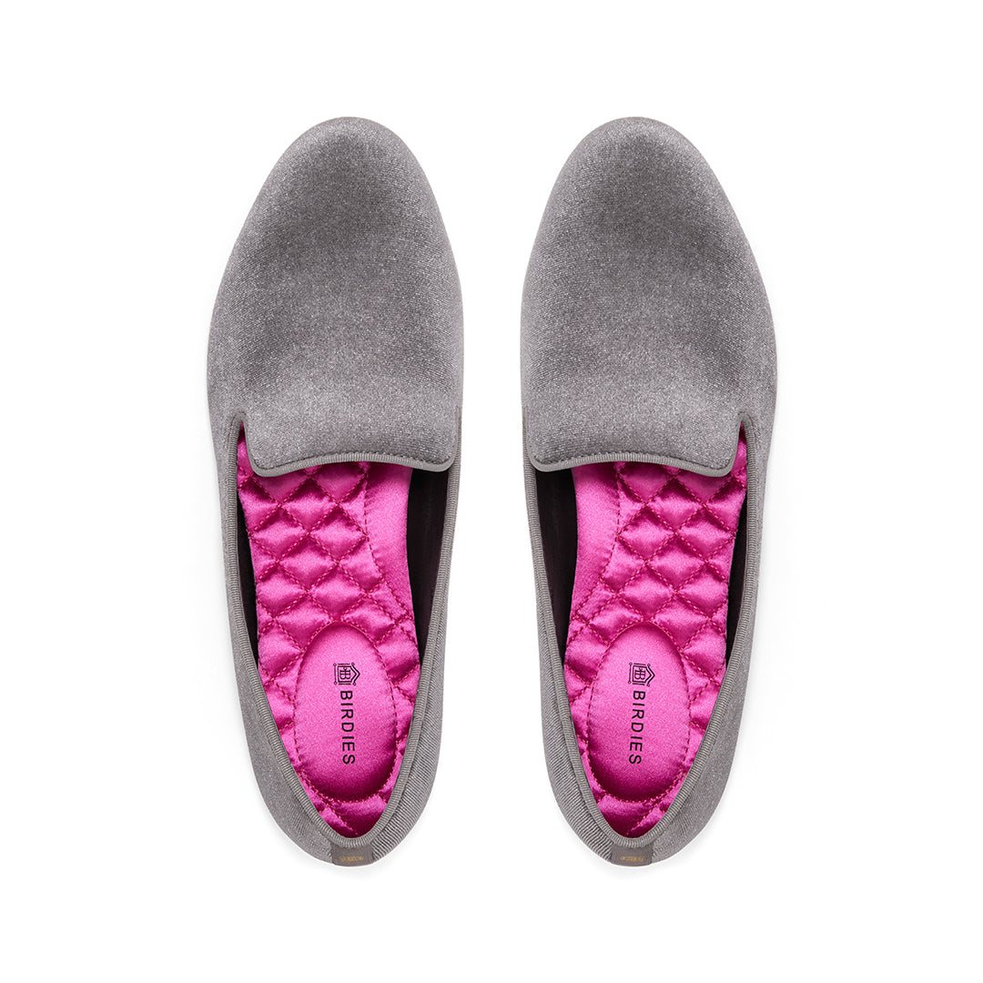 Women's flat Starling grey velvet