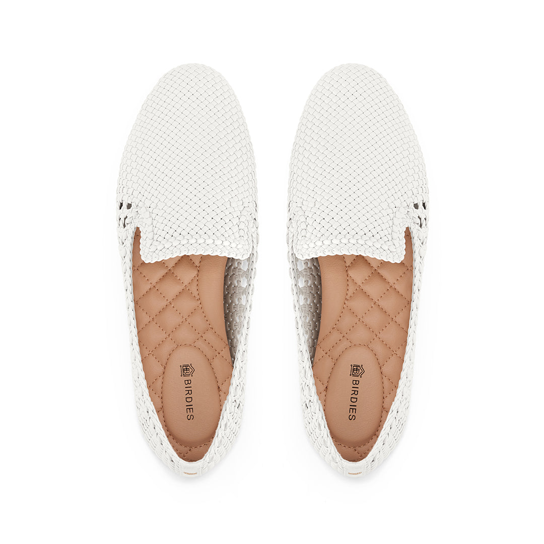 Women's flat Starling white woven vegan leather