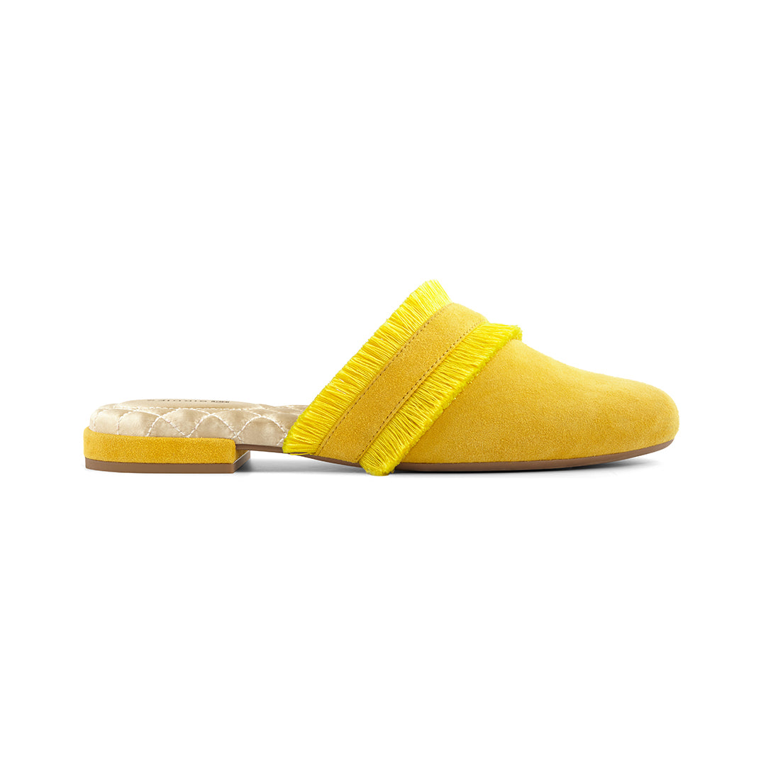 Women's slides Ani yellow side view