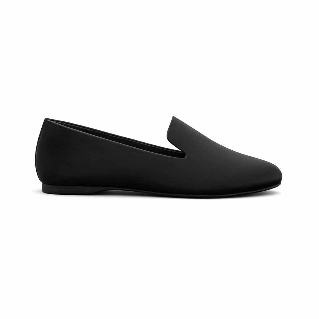 Women's flat Starling black leather side view