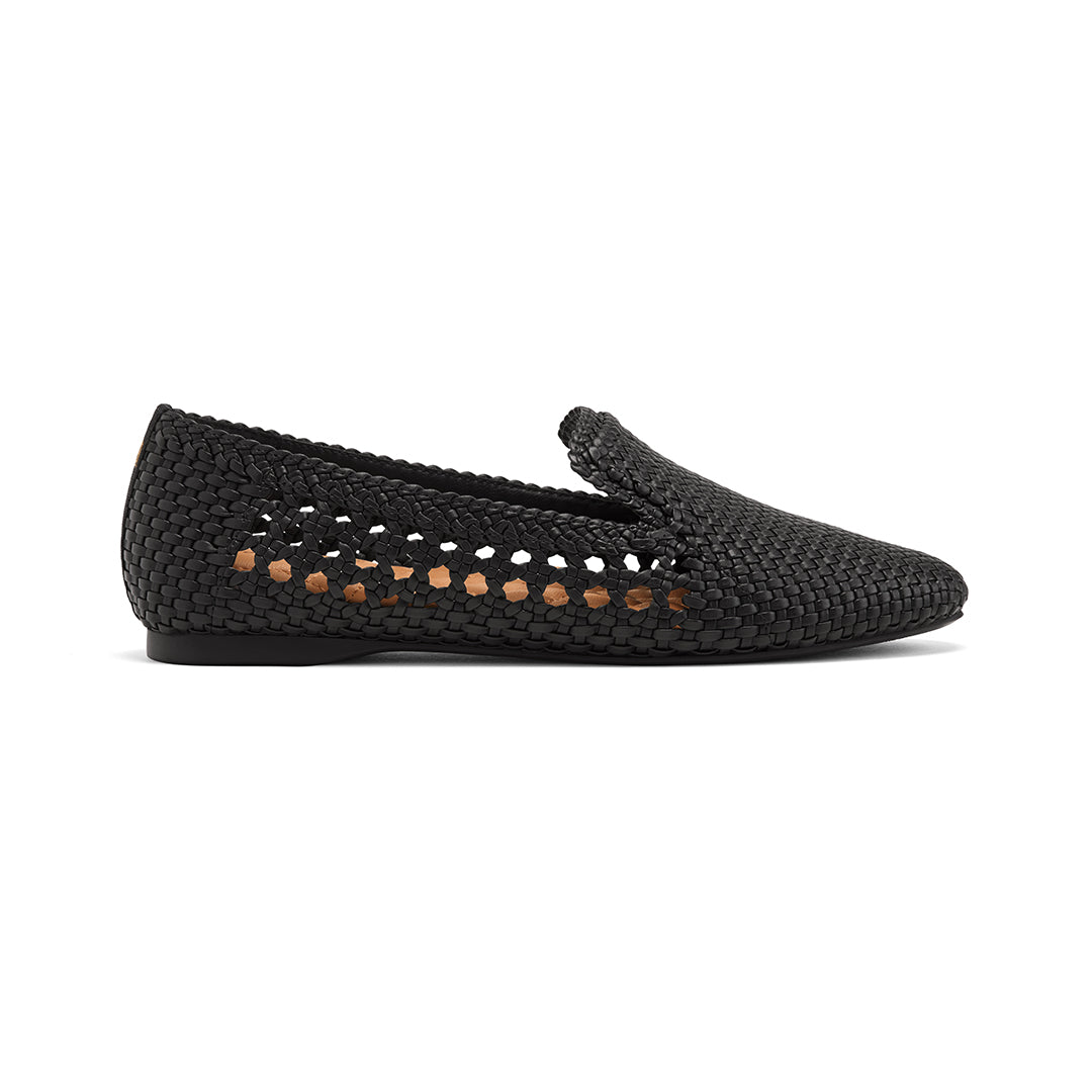 Women's flat Starling black woven vegan leather side view