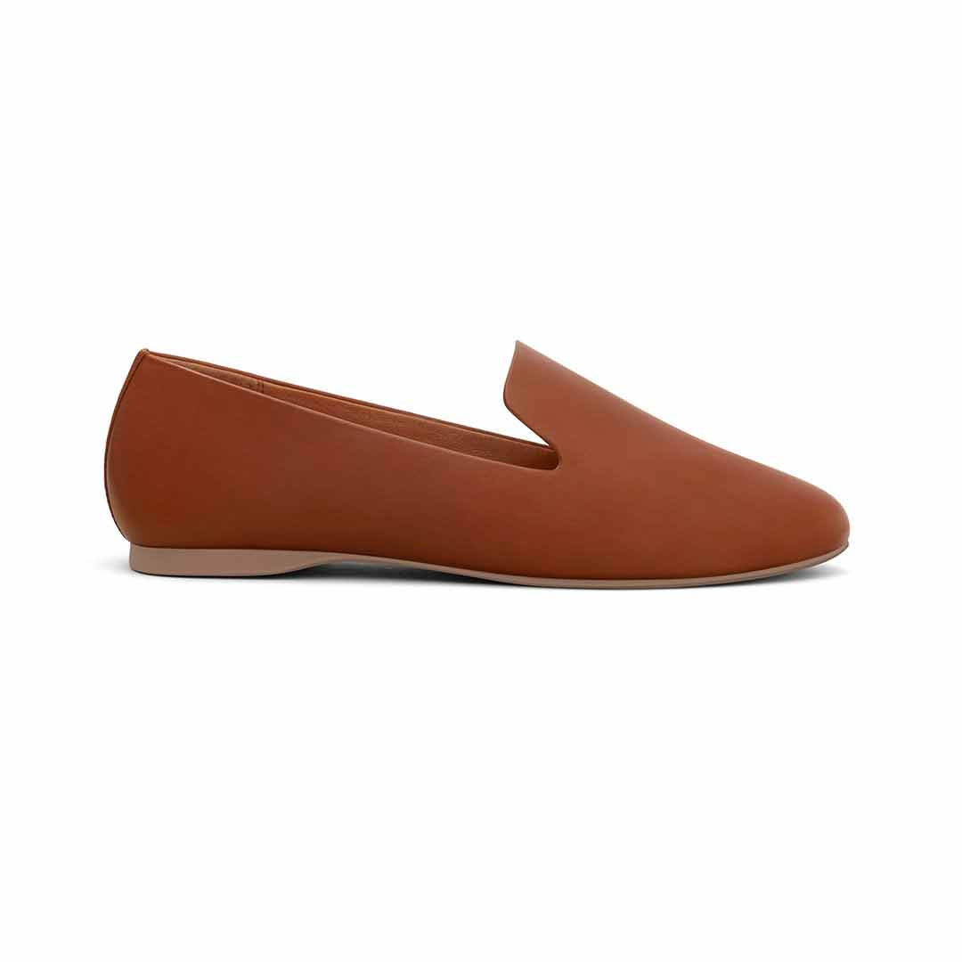 Women's flat Starling cognac leather side view