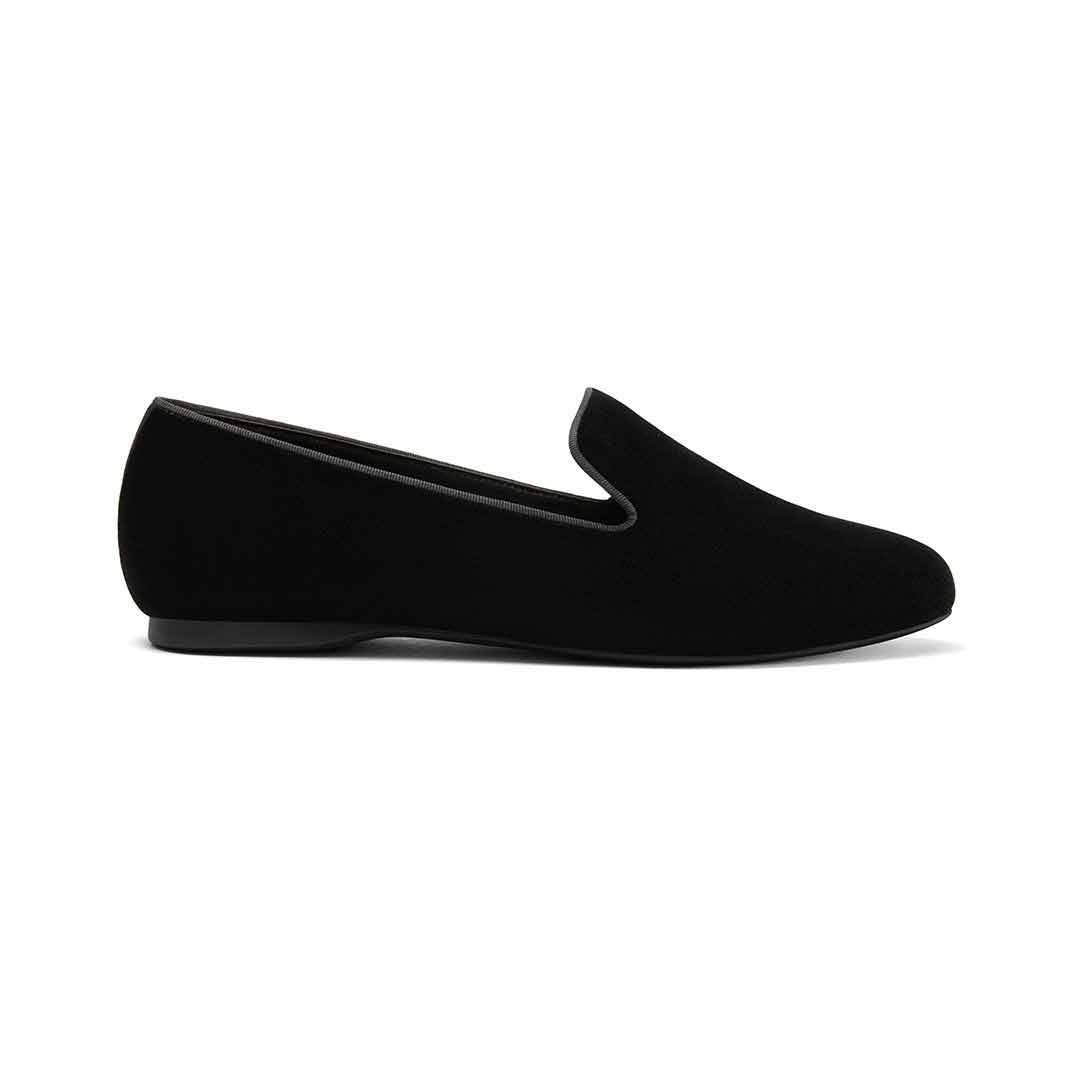 Women's flat Starling black velvet faux fur side view