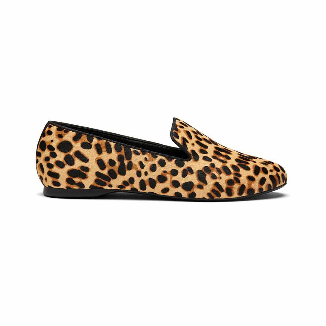 Women's flat Starling cheetah calf hair faux fur side view