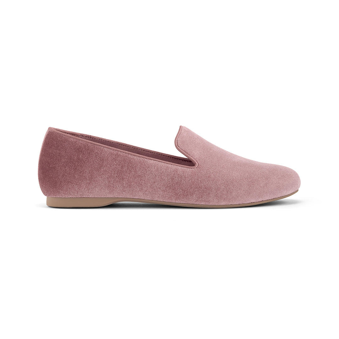 Women's flat Starling pink velvet side view