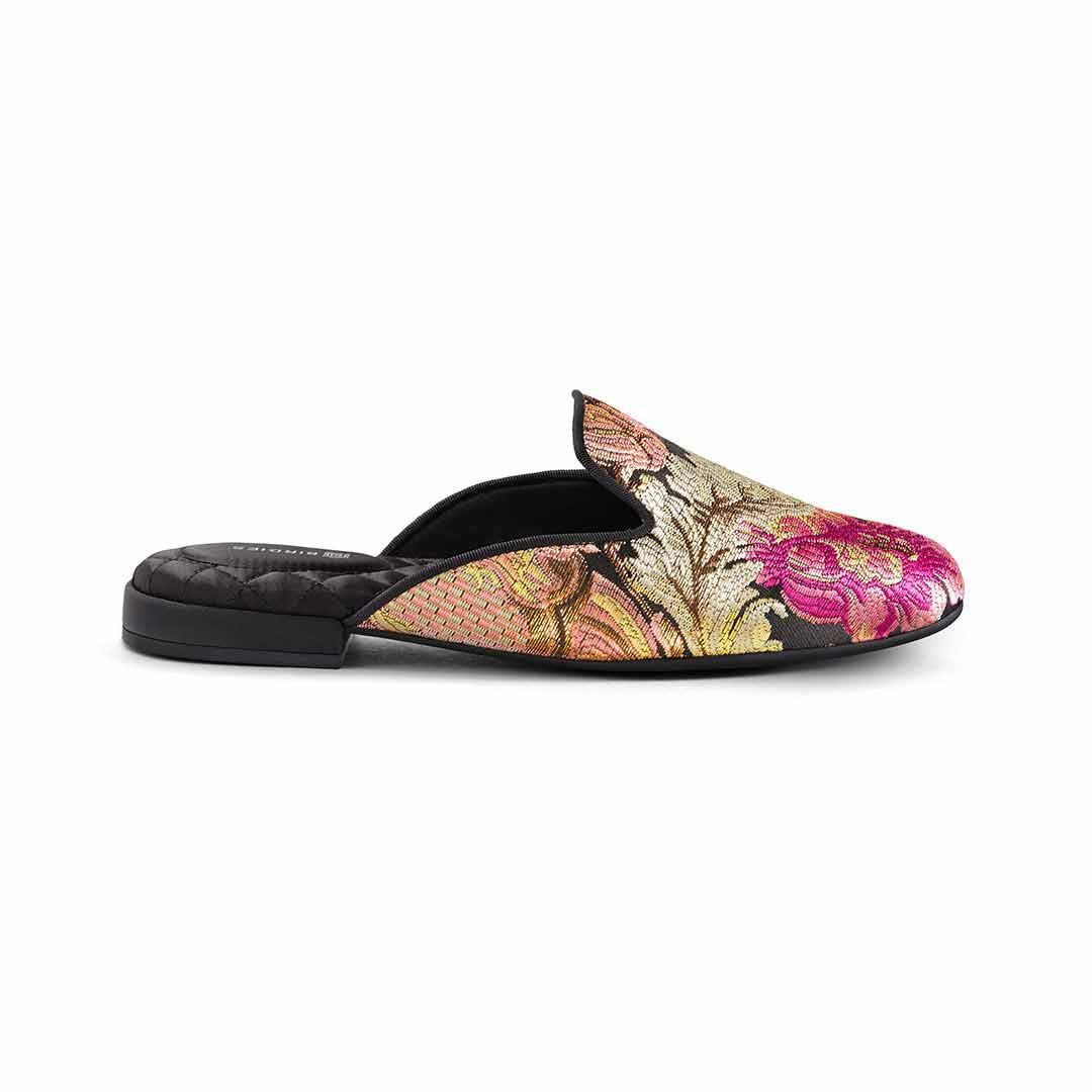 Women's slide Phoebe floral jacquard pattern side view
