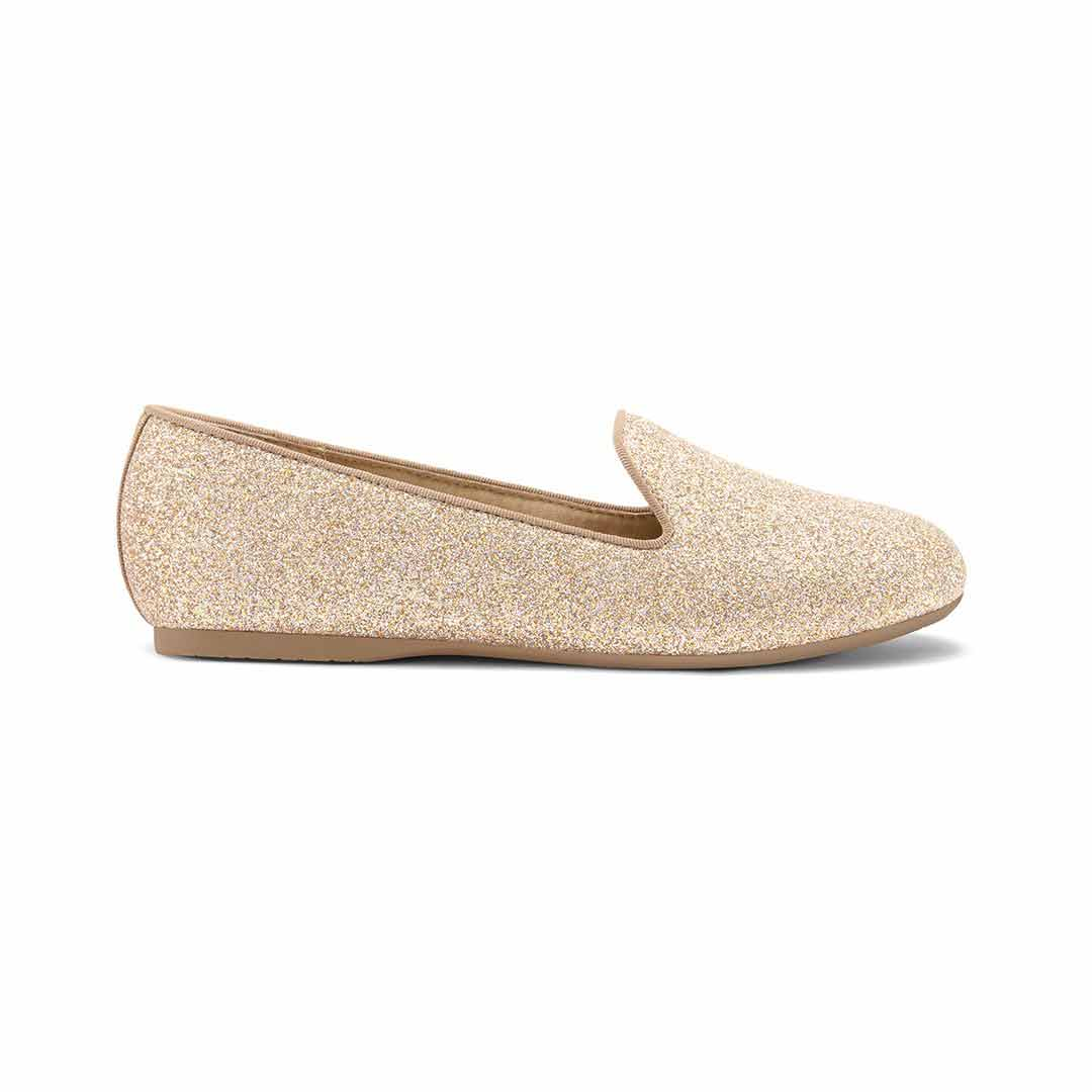 Girl's flat Little Starling gold glitter side view