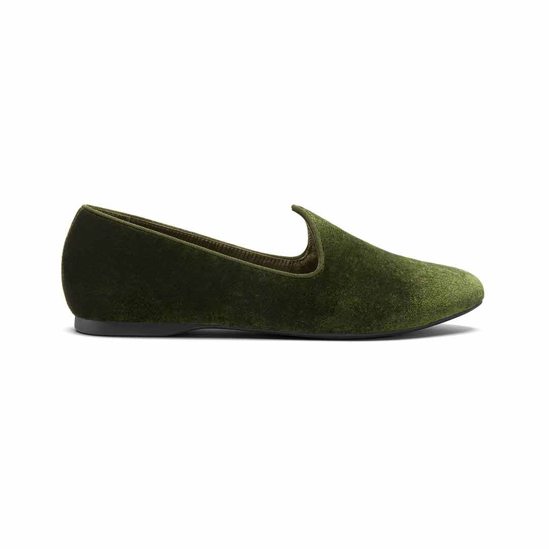 Women's flat Heron olive velvet side view