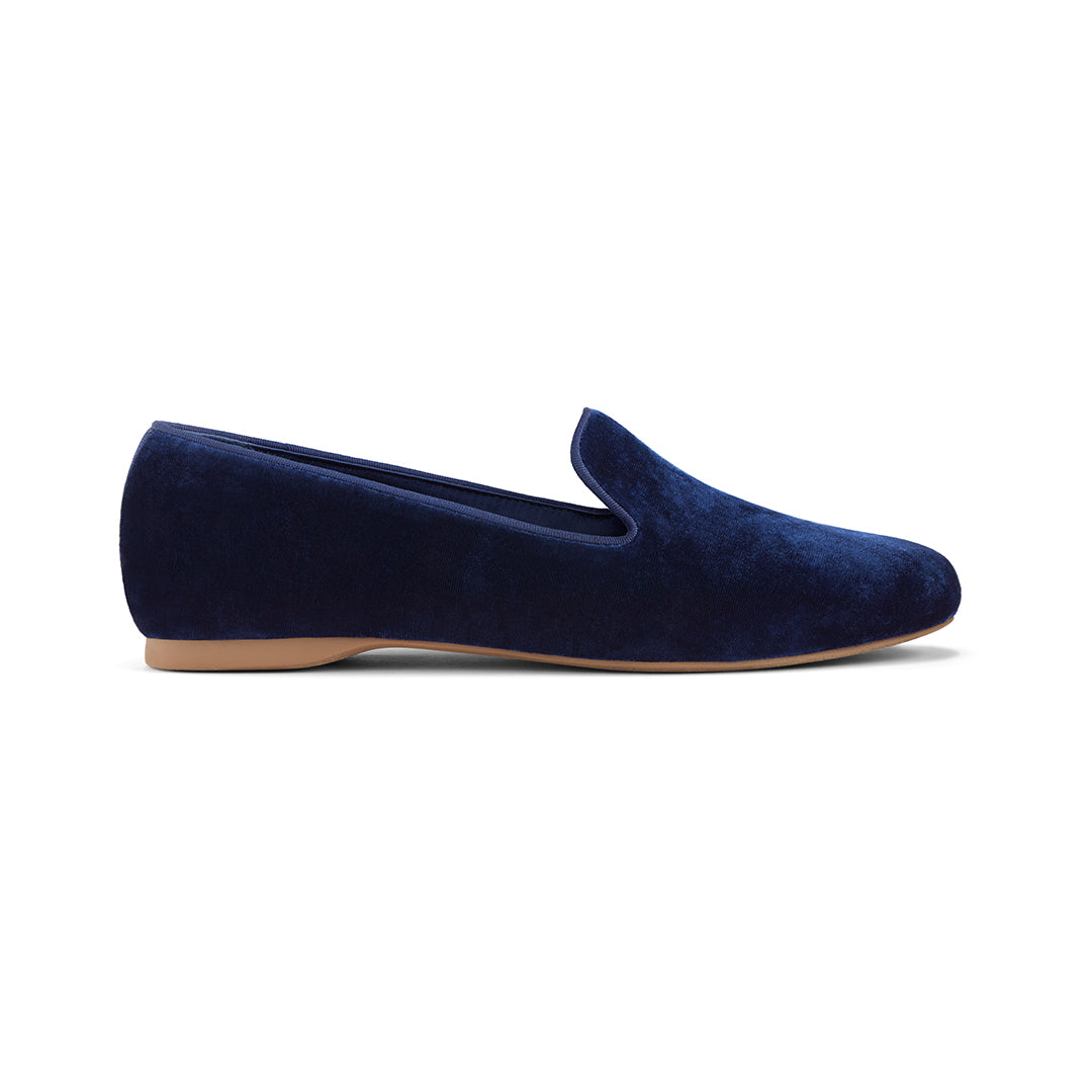 Women's flat Starling blue velvet side view