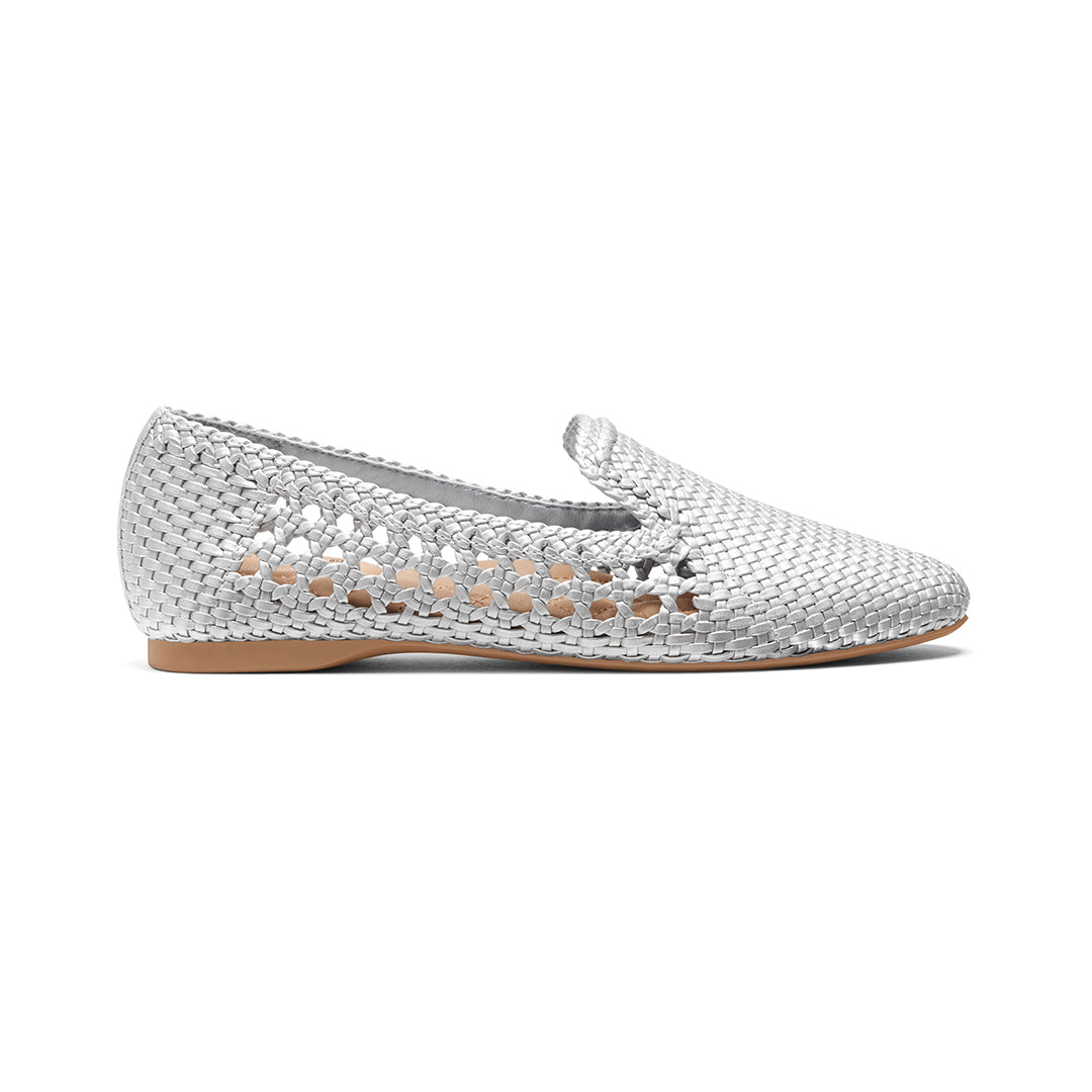 Women's flat Starling silver woven vegan leather side view