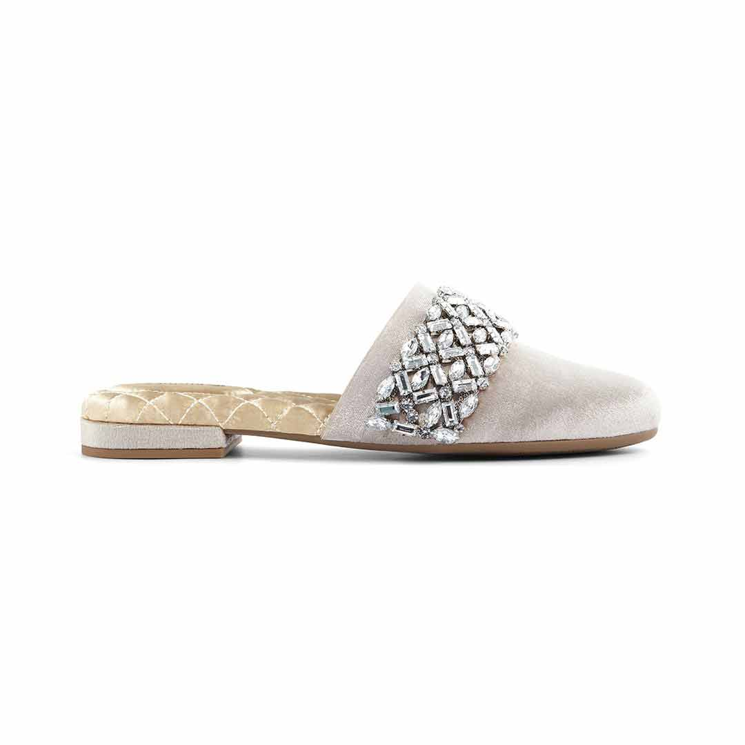 Women's slides Songbird silver crystal side view