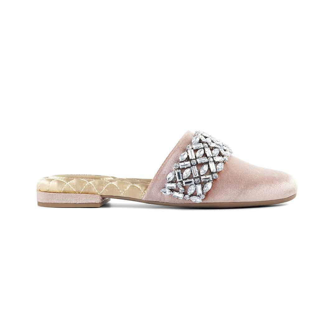 Women's slides Songbird blush crystal side view