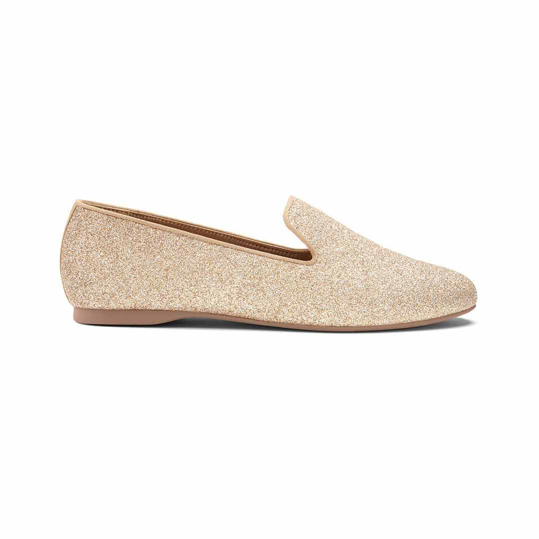 Women's flat Starling gold glitter side view