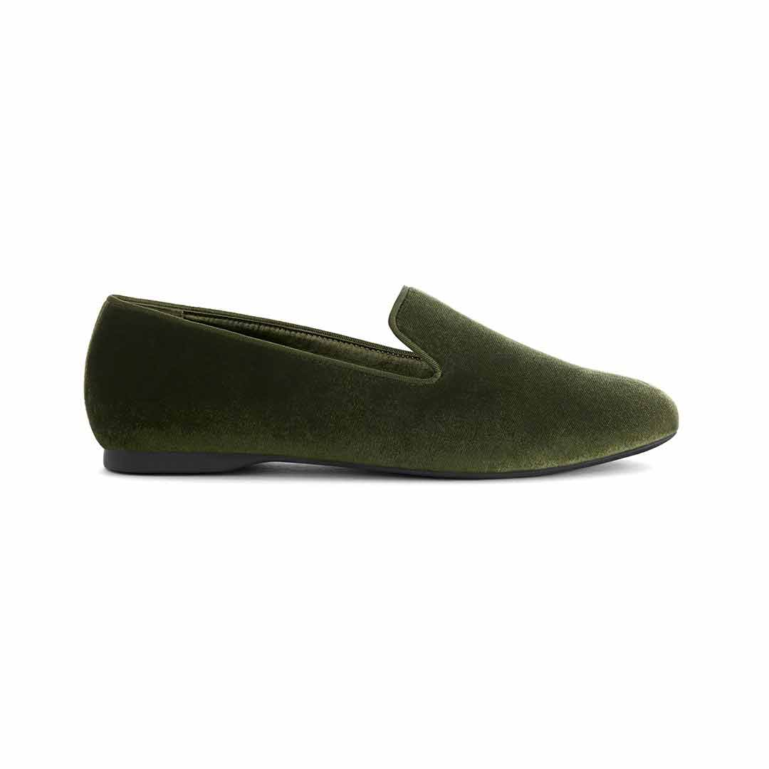 Women's flat Starling olive velvet side view