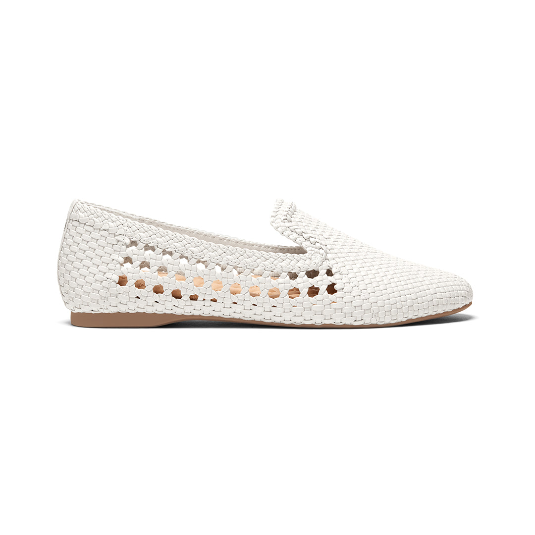 Women's flat Starling white woven vegan leather side view