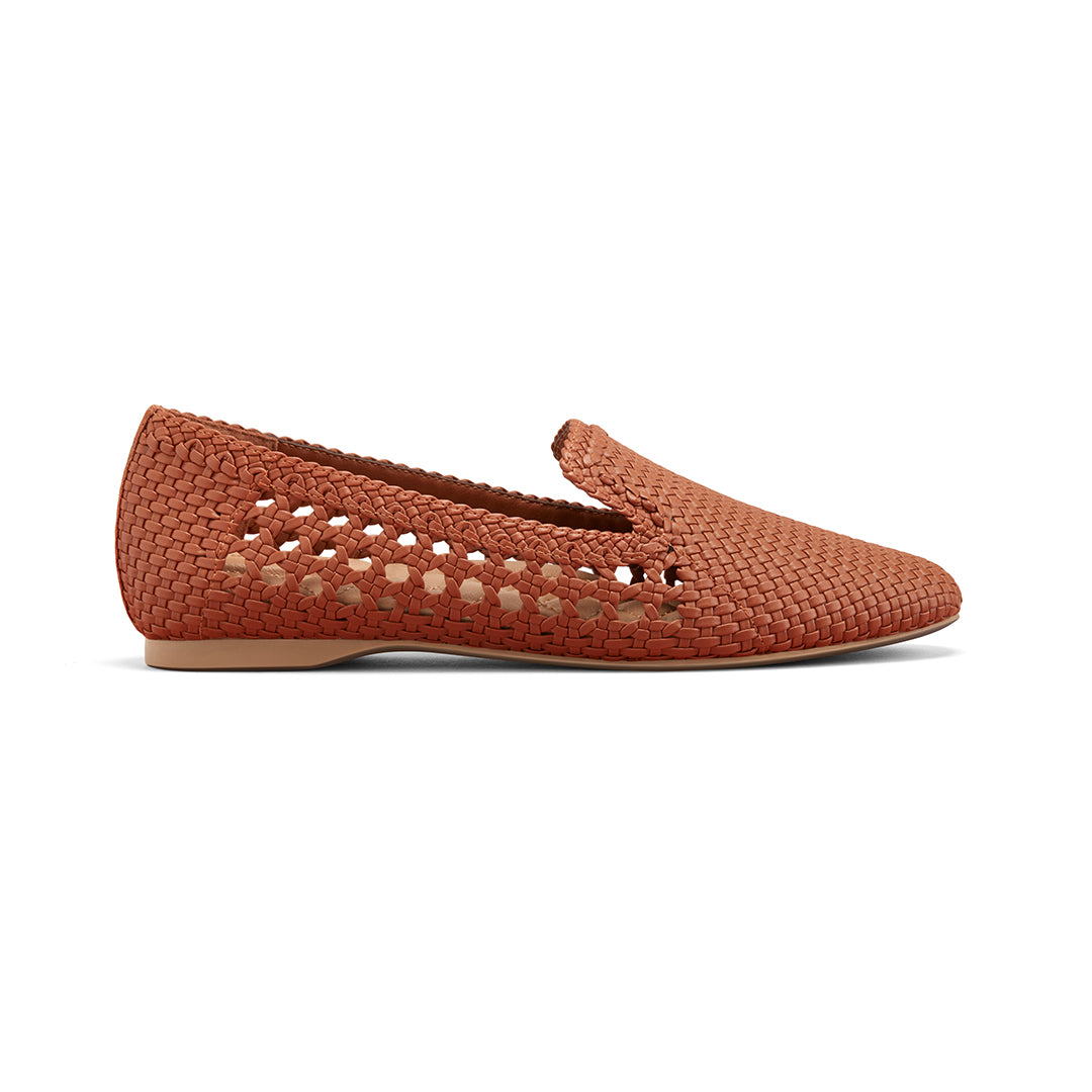 Women's flat Starling brown woven vegan leather side view