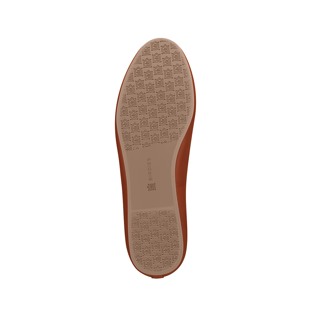 Women's flat Starling cognac leather bottom view