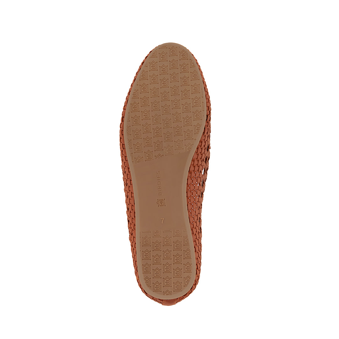 Women's flat Starling brown woven vegan leather bottom view