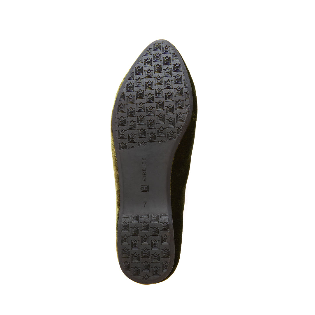 Women's flat Heron olive velvet bottom view