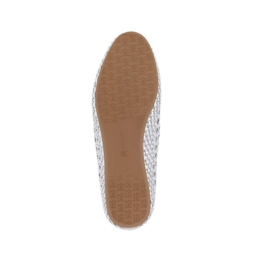 Women's flat Starling silver woven vegan leather bottom view
