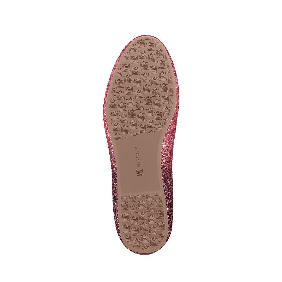 Women's flat Starling pink glitter bottom view