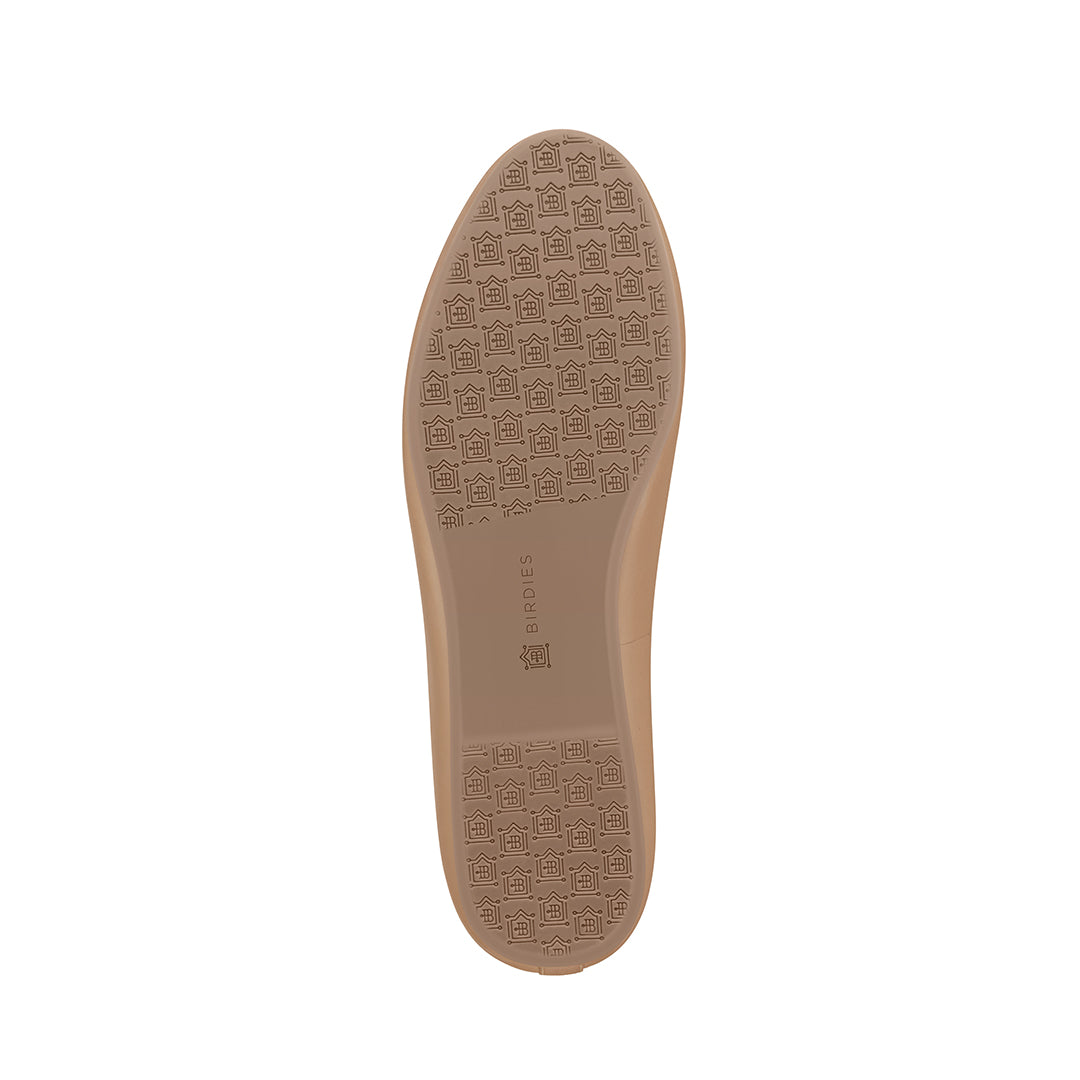 Women's flat Starling taupe leather bottom view