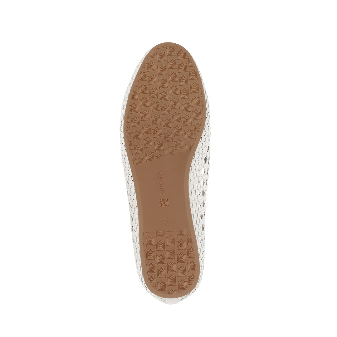 Women's flat Starling white woven vegan leather bottom view