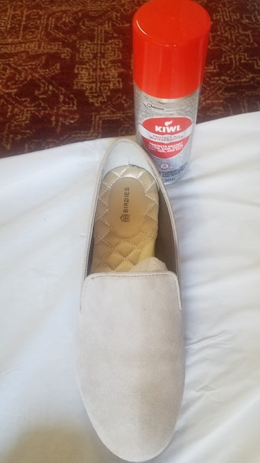 suede shoe care with Kiwi Rain and Stain Protector