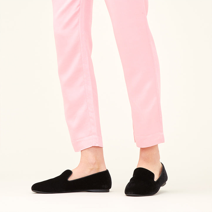 Birdies Starling flats in black velvet shown with light pink pants