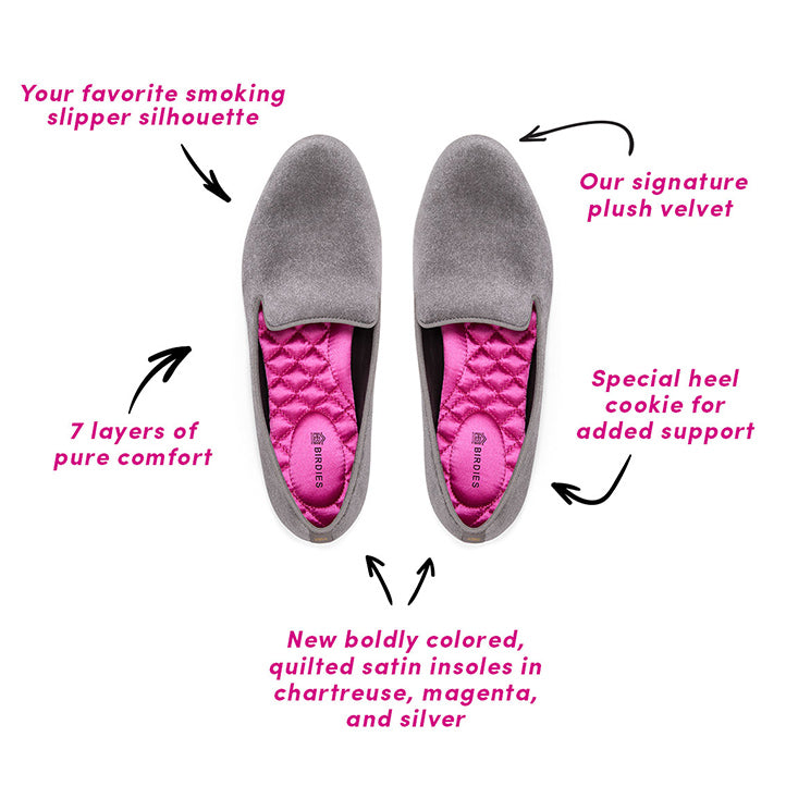 The top 5 features of the Starling flat, including plush grey velvet, hot-pink insoles, and heel cookie for added support