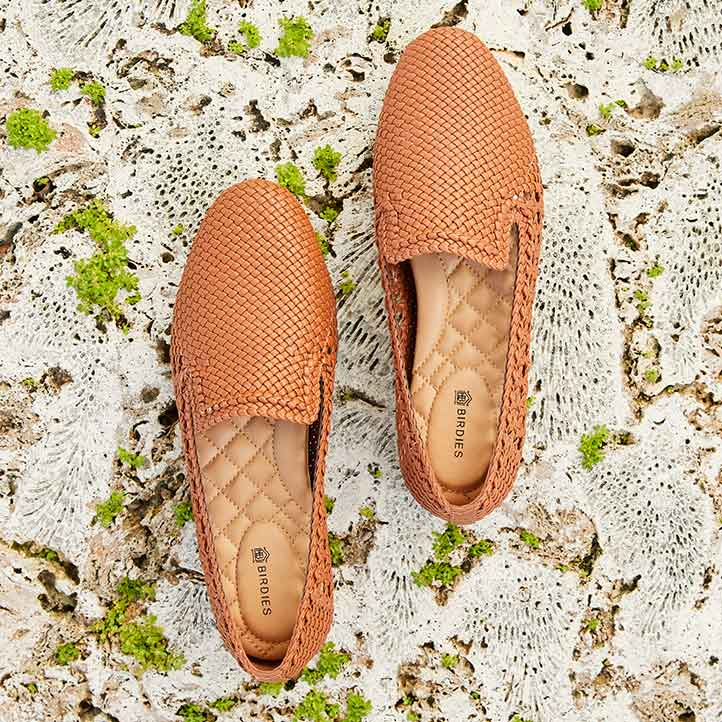 brown handwoven flats