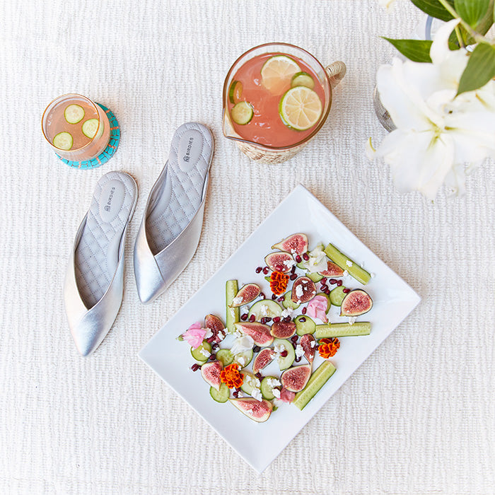 silver slides, fig salad, and summer cooler cocktail