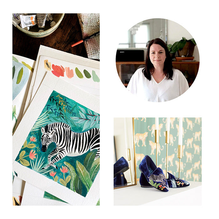 collage of artist Emilie Simpson, closeup of her work, and embroidered navy velvet flats