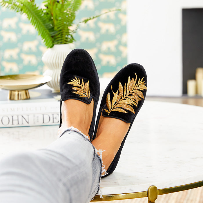 black velvet flats embroidered with gold leaves